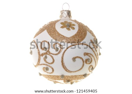 Single bauble Christmas Tree isolated on white background