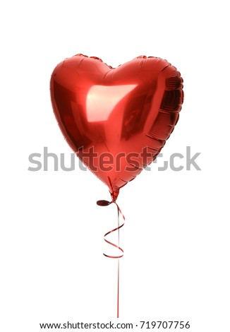 Single big  red heart balloon object for birthday party isolated on a white background - Shutterstock ID 719707756
