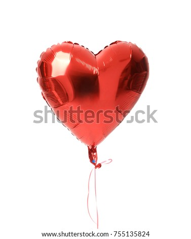 Single big  red heart balloon object for birthday party isolated on a white background - Shutterstock ID 755135824