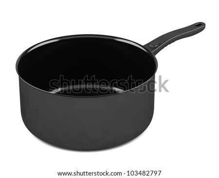 single black cooking pot isolated on white background