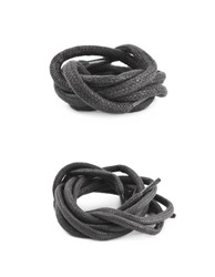 Single black shoe lace string folded and isolated over the white background, set of two different foreshortenings