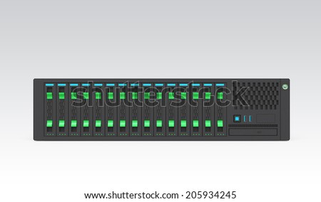 Single blade server isolated on gray background. Clipping path available.