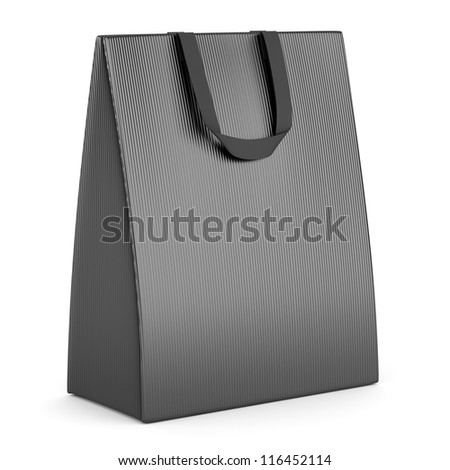 single blank gray shopping bag isolated on white background