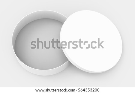 Single blank round box, short paper box mockup with its lid lean on it isolated on light gray background, 3d rendering and elevated view