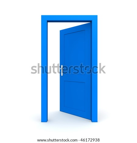 single blue door open - door frame only, no walls