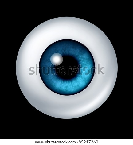 Single blue human eye ball with iris and retina lens representing the organ of sight and the medical profession of optometry to see if eye glasses or contact lenses are medically prescribed.