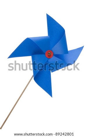 Single blue pinwheel isolated close up on white background. Included clipping path, so you can easily cut it out and place over the top of a design.
