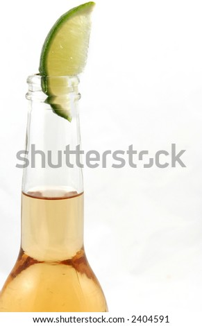 single bottle of beer with copy space