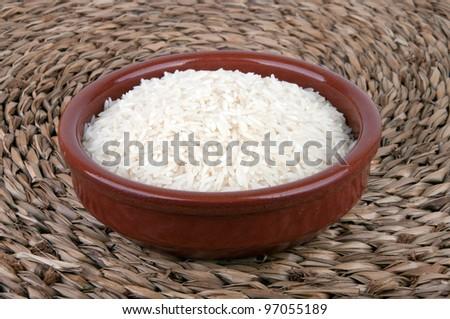 Single bowl of healthy organic basmati rice.