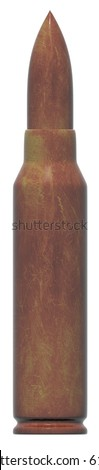 single bullet caliber 7.62 isolated at white background