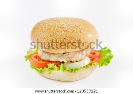 single burger on white background