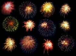 Single bursts of fireworks on black background.