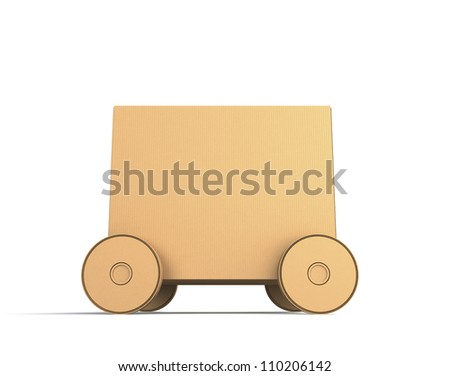 single cardboard box car with blank space to input message
