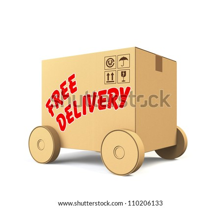 single cardboard box car with free delivery text