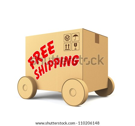 single cardboard box car with free shipping text