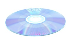 single cd or dvd disc after recording music or picture information. old technology concept .