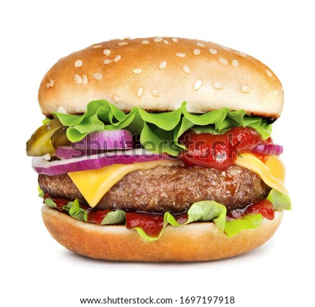 single cheeseburger isolated on white background Сток-фото ©