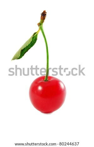 single cherry with leaf isolated on white