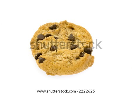 Single chocolate chips cookie isolated on white background
