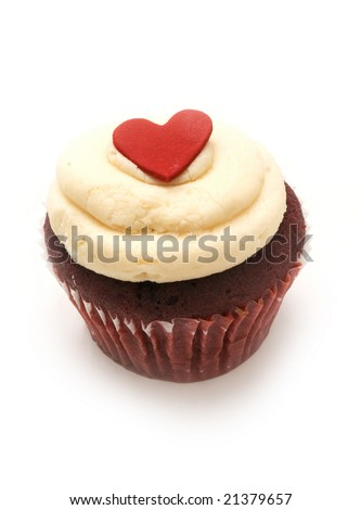 single chocolate cupcake with vanilla icing and a red heart