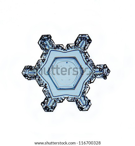 Single Christmas pattern, natural snowflake, crystal water, isolated on a black / white background