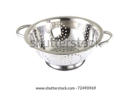 Single chrome strainer on a white background.