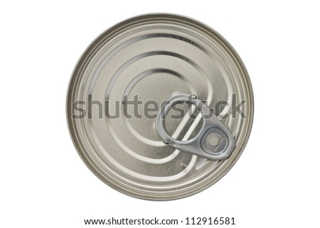 Single closed tin can shot from above isolated on white