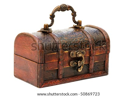 single closed wooden chest with metal ornament