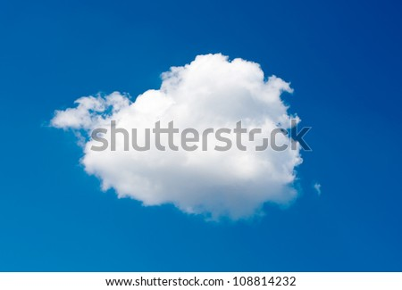 single cloud on blue sky background