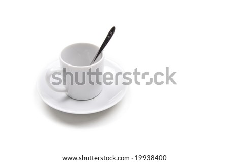 single coffee cup isolated on white background. landscape orientation.