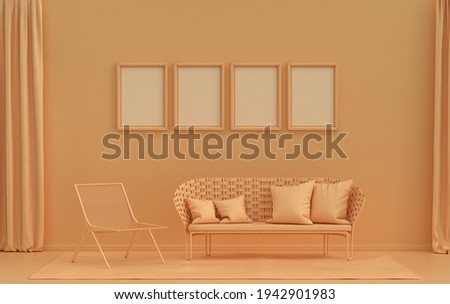 Single color monochrome orange pinkish color interior room with single chair, without plant,  4 frames on the wall, 3D rendering, poster frame mockup scene Сток-фото ©