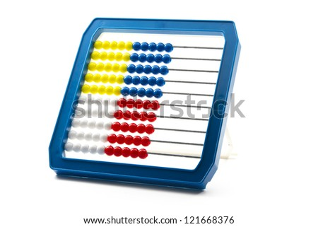 single colorful abacus isolated on white background