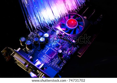 Single computer videocard with fiber optics background