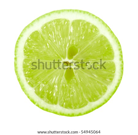 Single cross section of lime. Isolated on white background. Close-up. Studio photography. #54945064
