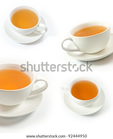 Single cup of green tea collage