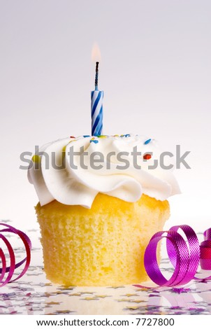 Single cupcake with Blue Candle