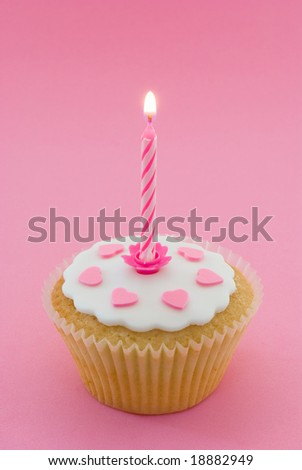 Single cupcake with pink lit candle in a pink setting
