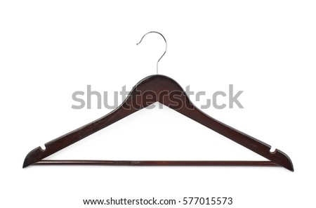 Shutterstock Single dark wooden hanger isolated over the white background