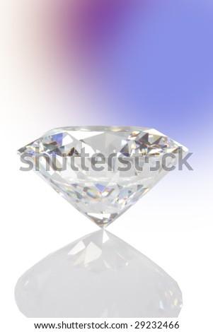 single diamond with reflexion