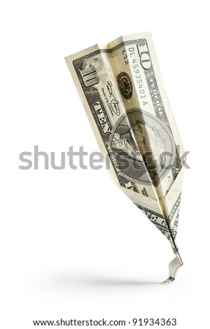 single dollar banknote crash on white background