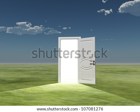 Single door emits light in empty landscape