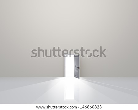 Single door in pure white space emits light - stock photo