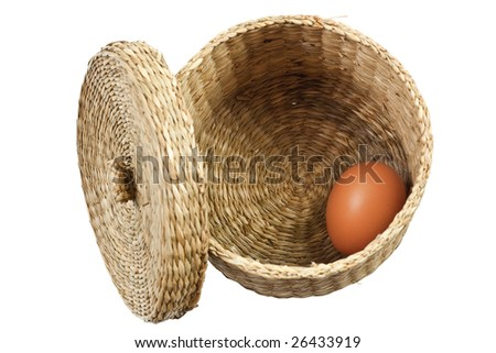 Single egg in a basket isolated on white background