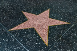 Single Empty star on Hollywood Walk of Fame in Los Angeles, California, USA
