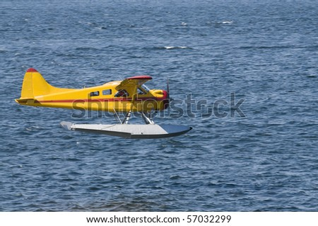 single-engined Seaplane coming in to land in Ketchikan, Alaska