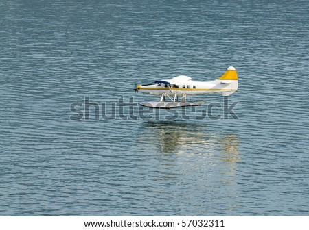 single engined seaplane coming into land with a reflection just prior to touch down