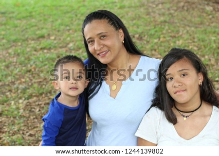 Single ethnic mother with two kids