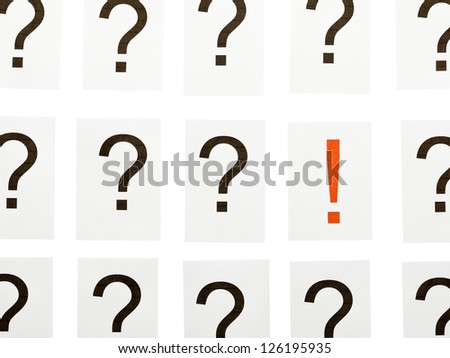 Single exclamation mark between a lot of question marks - solution or idea concept