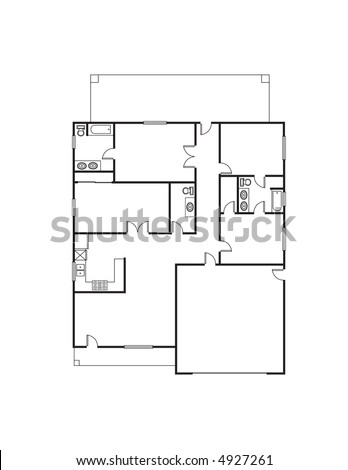 Single family house floor plan stock photo 4927261 Single family house floor plans