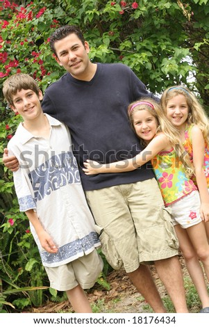 single father with his children
